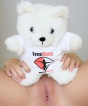 Ashlee has some fun with her Freeones bear